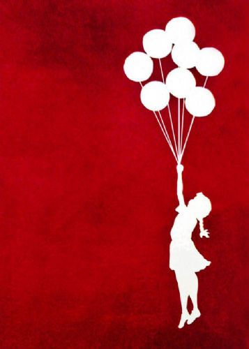 BANKSY - GIRL BALLOONS - RED canvas print - self adhesive poster - photo print